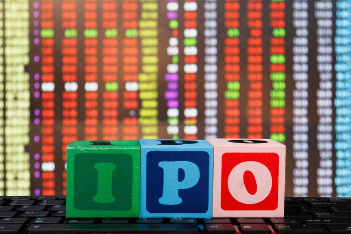 The letters IPO displayed on colorful wooden blocks.