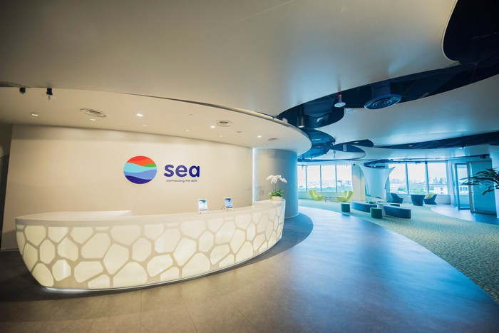 The Sea Limited office lobby with the company logo on the wall behind the reception desk.