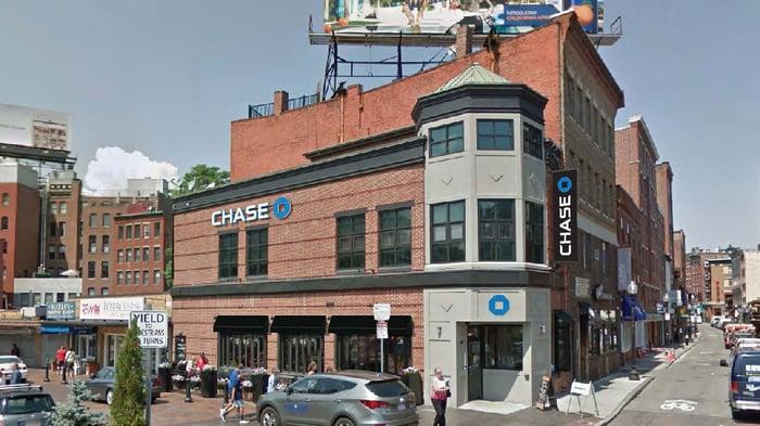JPMorgan Chase branch office building.