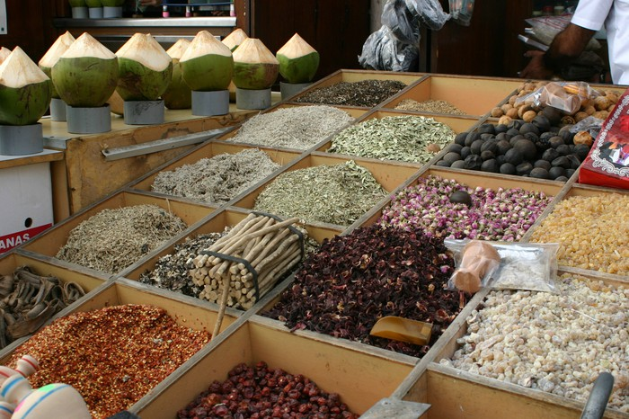 Selection of spices in square bins.