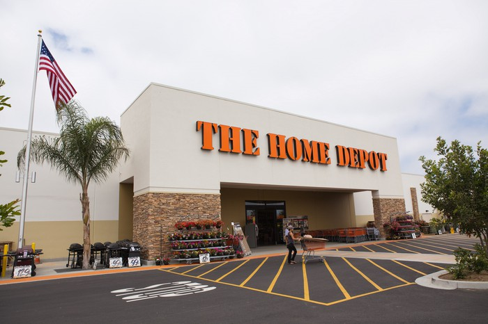 The front of a Home Depot store location.