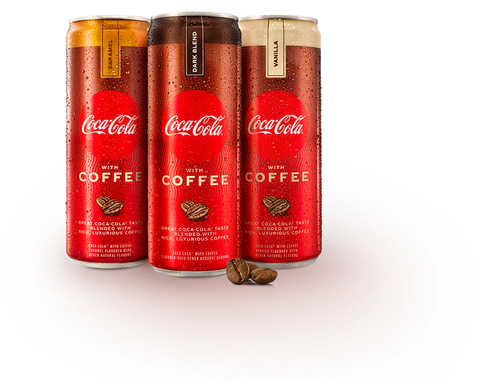 Cans of Coca-Cola with Coffee in its three original flavors.