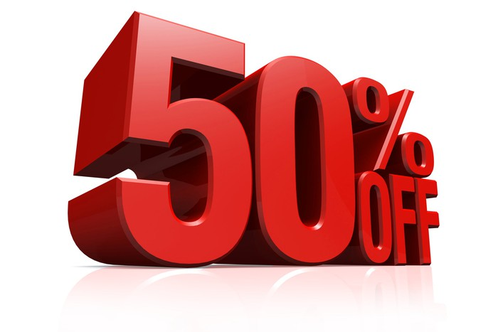 50% off in big red letters