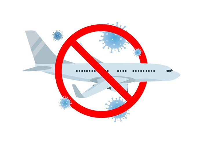 drawing of airplane with cancellation symbol and germs indicating cancelled planes due to pandemic