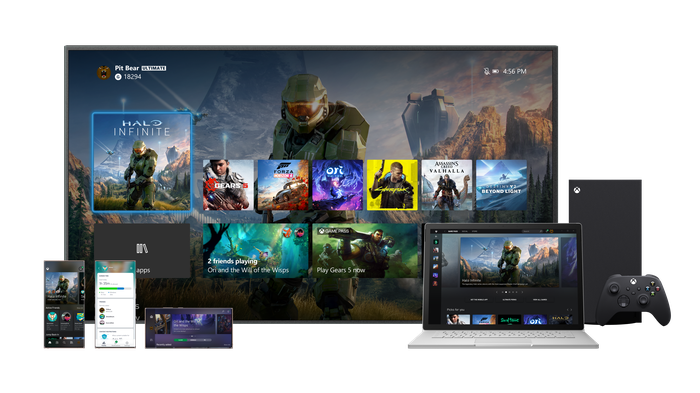 Microsoft Xbox Game Pass demonstration picture. Shows Xbox games playable on Xbox Series X, laptop, television and mobile.