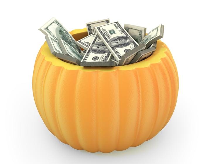 Pumpkin full of $100 bills