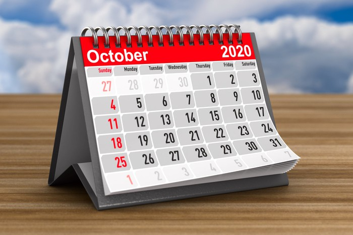 Calendar for October 2020 standing on a wooden table.