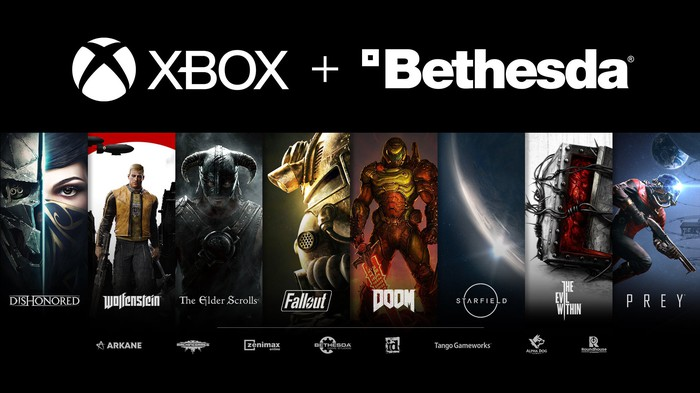 The words Xbox and Bethesda displayed above Bethesda's roster of games.