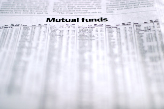 A newspaper page open to the mutual fund page, with names and prices of mutual funds listed in black and white news print.