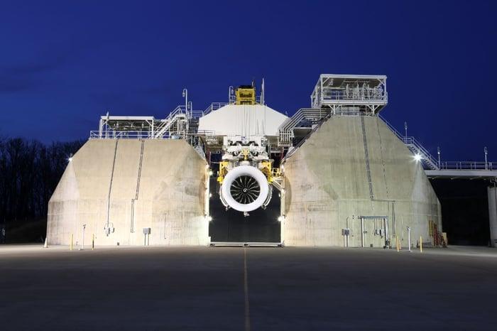 A GE9X engine on a test rig