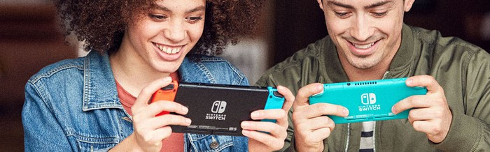 Two adults play a game on their Nintendo Switches.