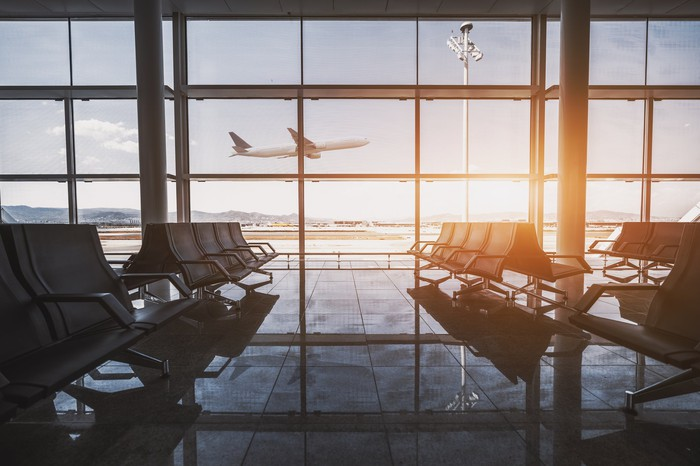 View out the window from an empty airport terminal.
