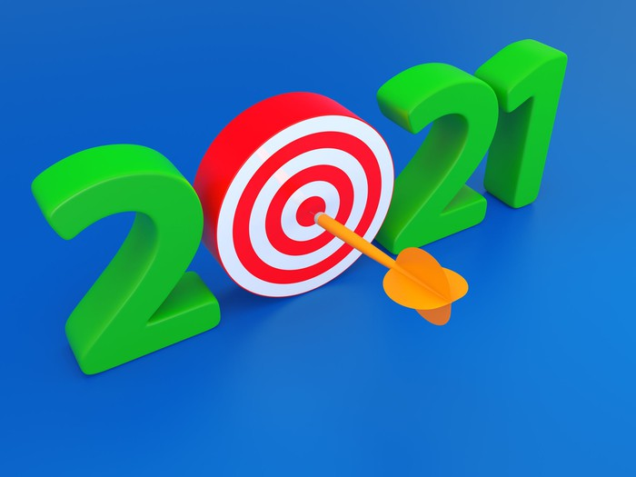 2021 with the zero as a bull's-eye with an arrow in the middle of it