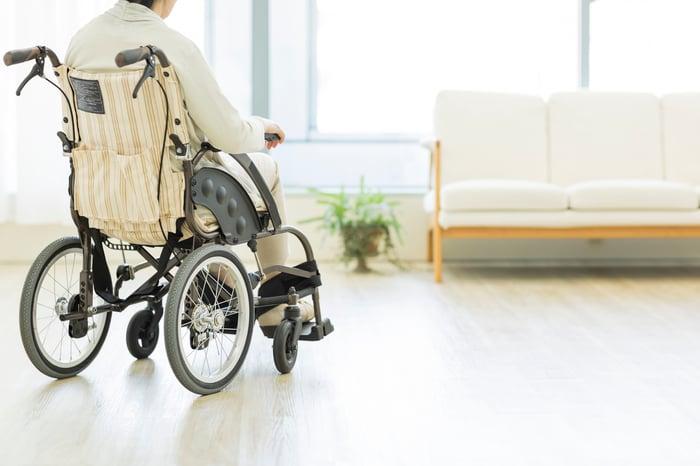 Senior lady in a wheelchair.