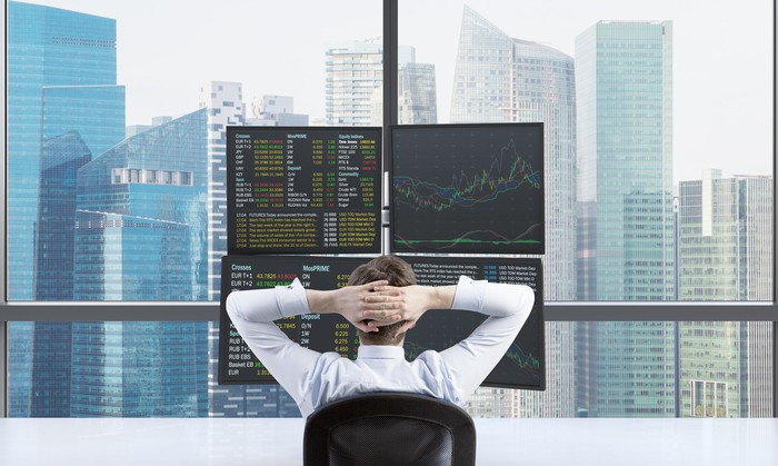 Person with hands on back of head looking at four monitors with stock charts and quotes, with cityscape behind.