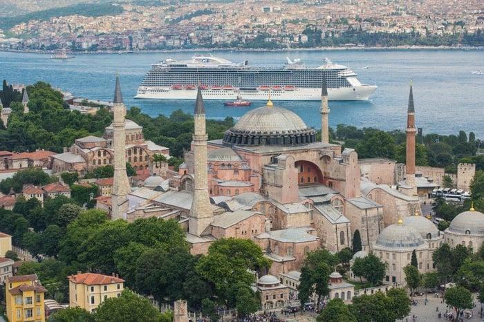 Carnival's Regal Princess sailing through Istanbul.