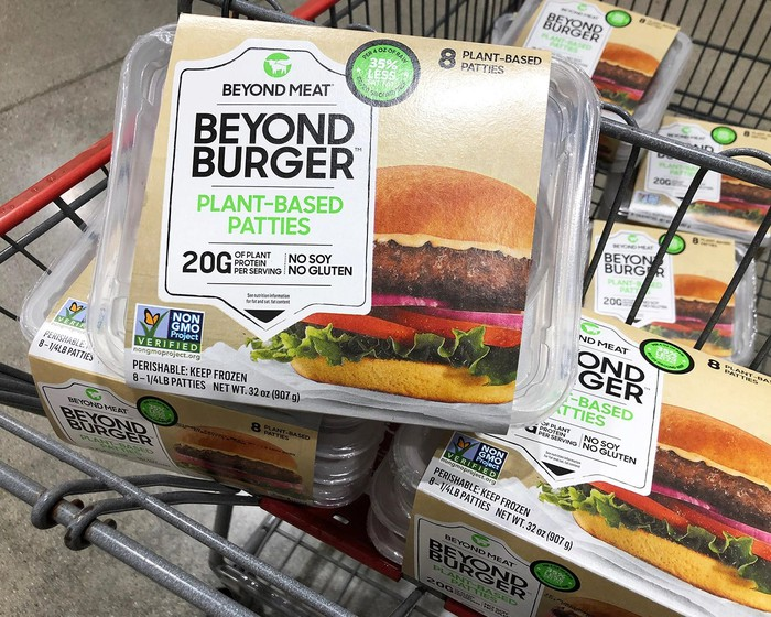 Beyond Burger packages in a shopping cart.