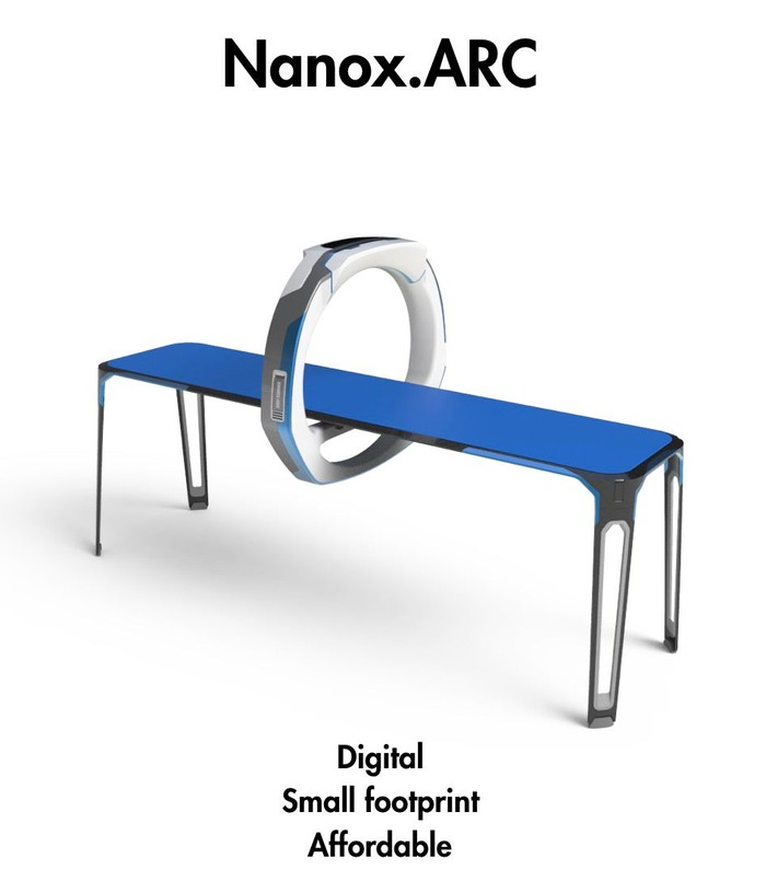 A 6-foot cot with a large mechanical ring attached in order to take X-rays.