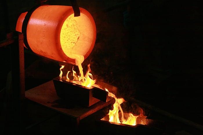 pouring molten gold