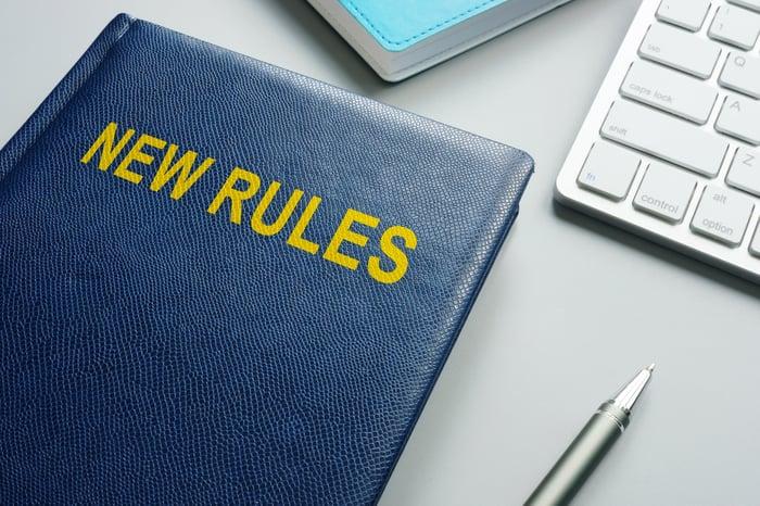 Rule book lying on a desk