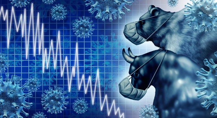 A bull and bear wearing masks and watching a stock chart go down.