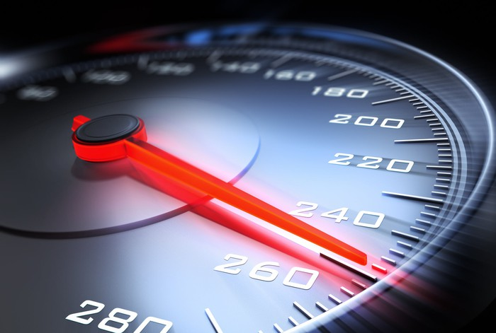 A car speedometer's needle points to 250.