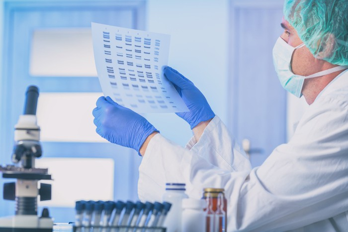 Researcher holding up a gene sequencing result with rubber gloves.