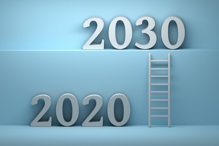 2020 on a lower level with a ladder leading up to a higher level with 2030 on it.
