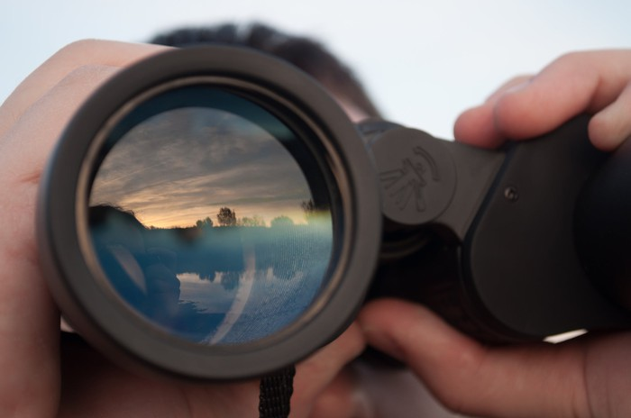 A person using binoculars to look off into the horizon.