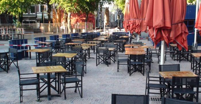 Empty outdoor restaurant dining area