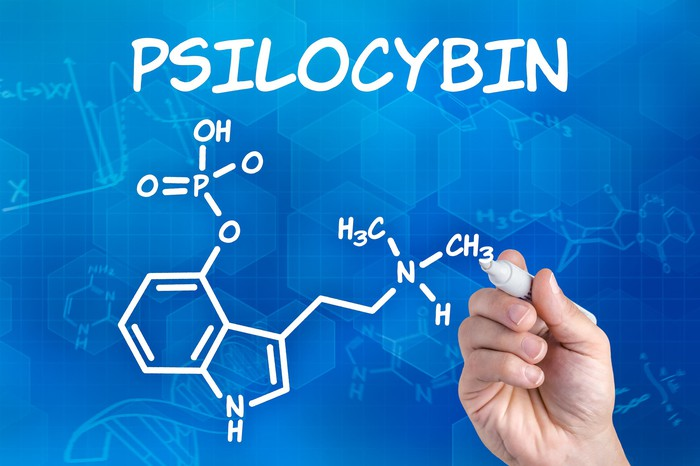 Hand drawing psilocybin chemical structure