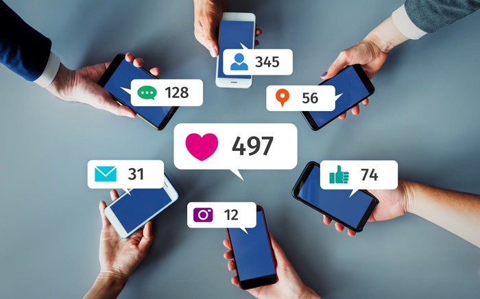 Smartphone users on social media.