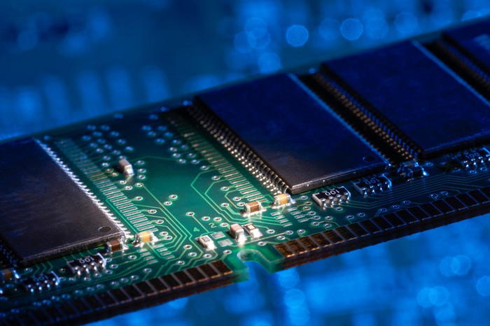 A close-up shot of a DRAM chip.