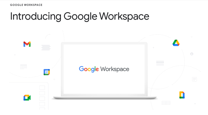 The Google Workspace logo in a rendered frame, surrounded by logotypes for some of the included apps.