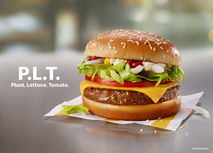 A promotional picture of Beyond Meat's original PLT, as offered at McDonald's in Canada earlier this year.