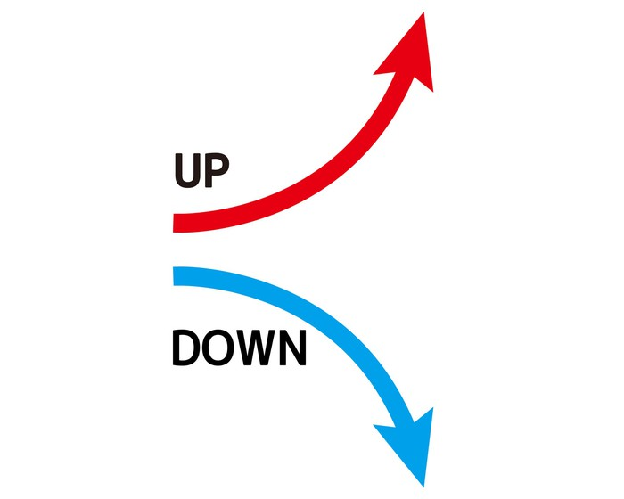 Red arrow swoops up and blue arrow swoops down.