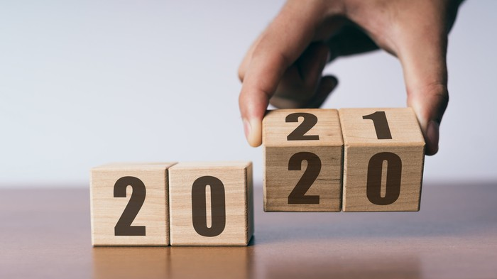 Blocks showing the year 2020 with a hand turning the last two digits to a 21.