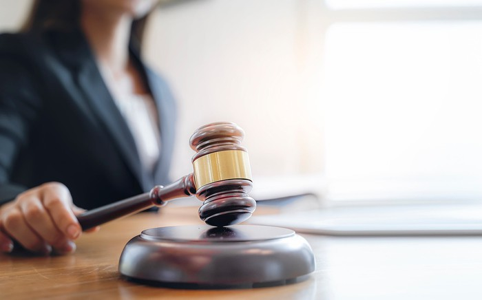 A judge banging a gavel
