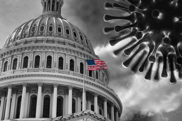 A black-and-white rendering of the U.S. Capitol Building and the coronavirus with an American flag in color flying in front