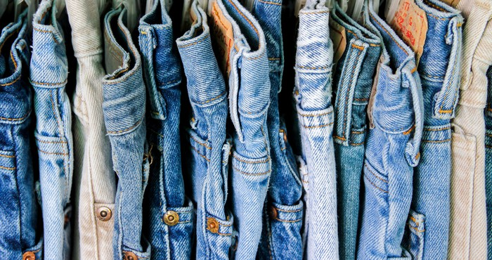 Close-up of a variety of jeans