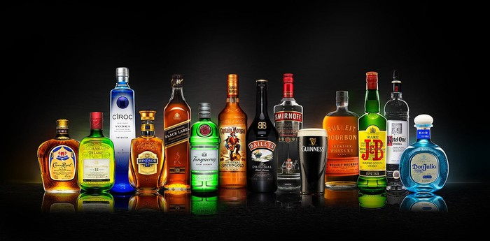 A row of Diageo products
