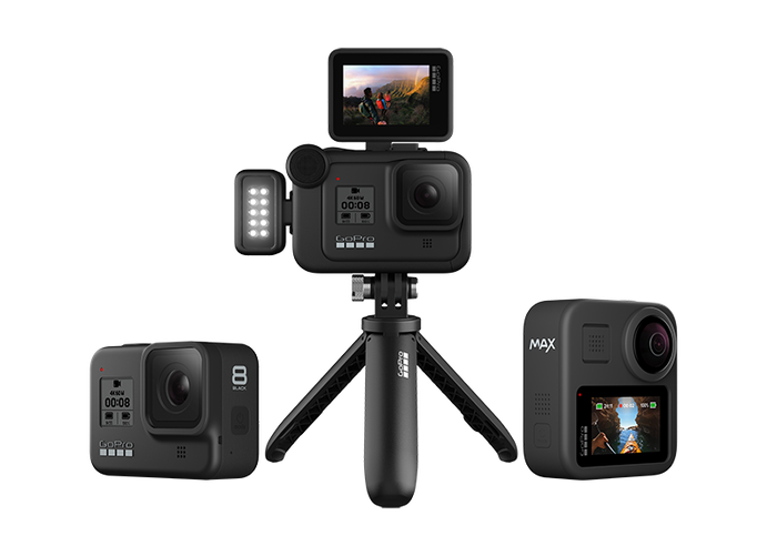 GoPro cameras with accessories.