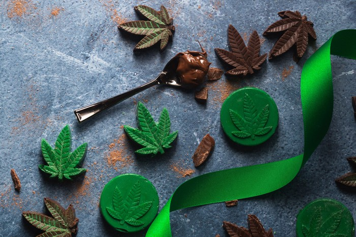 cannabis infused edible chocolate leaves with spoon