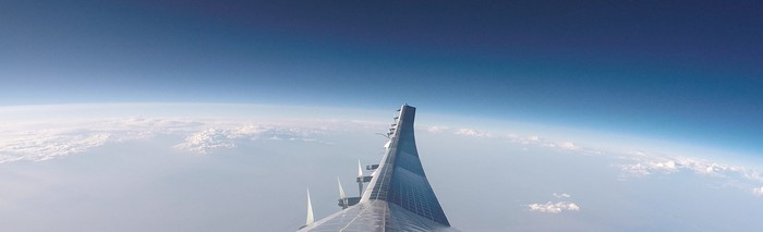 Sunglider's right wing viewed over Earth