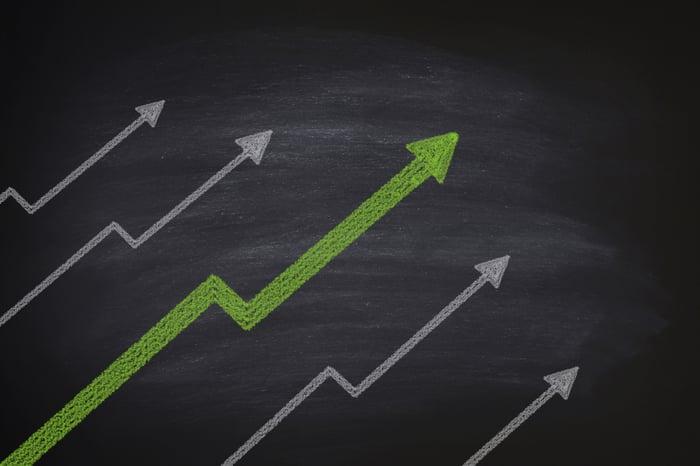 Five upward-bound arrows on a blackboard.