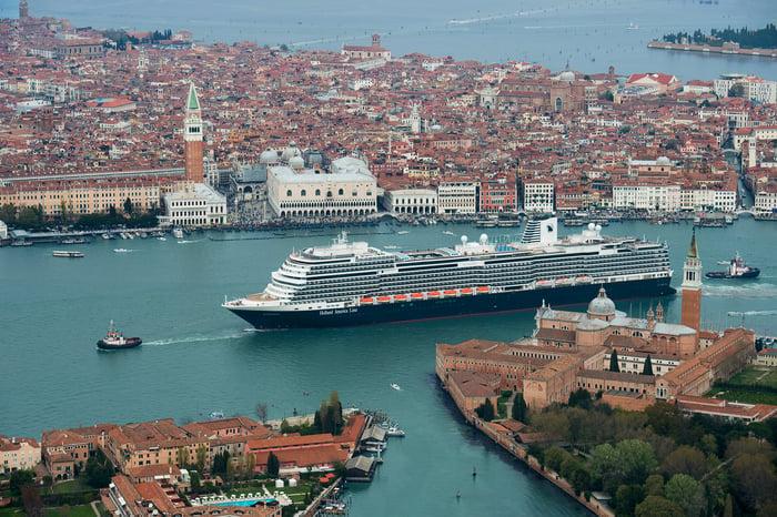 A Carnival cruise ship in Venice.