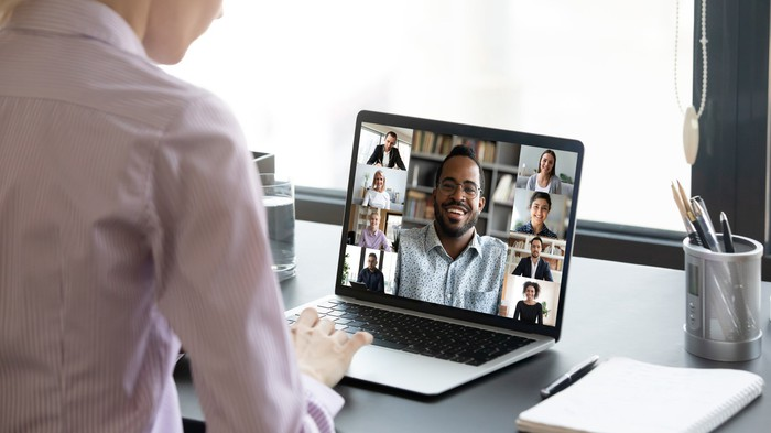 A person on a video call.