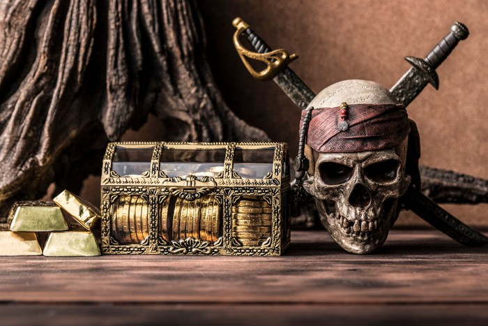 Skull and crossed swords next to gold coins and bars.