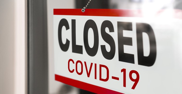 """A sign reading """"CLOSED COVID-19"""" in a glass window."""
