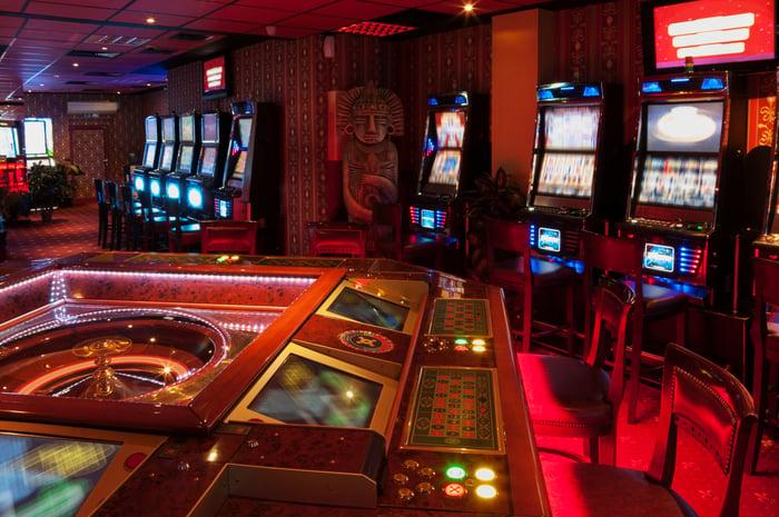 Inside of an empty casino